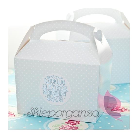 Kolekcja Kropeczki na Baby Shower Pudełko na ciasto - personalizacja NIEBIESKIE KROPECZKI KIDS