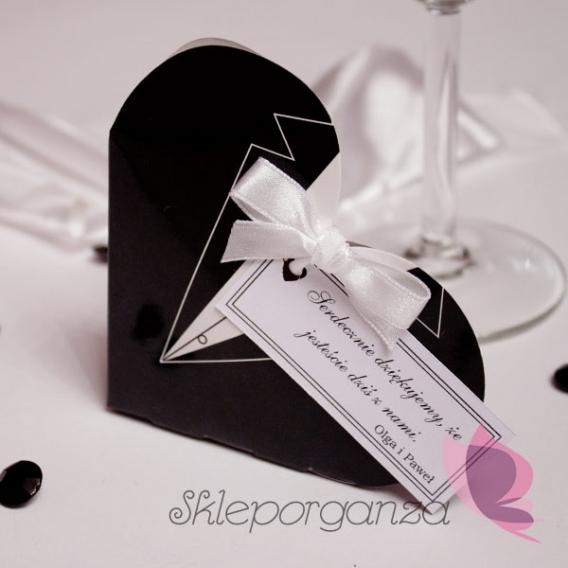 Pudełka weselne personalizowane Pudełko serce - frak - personalizacja