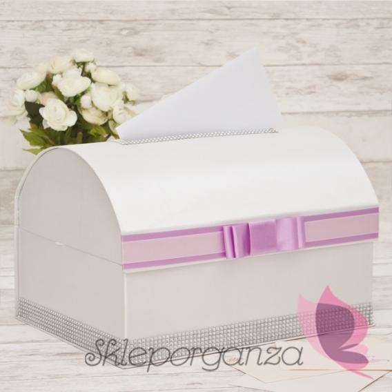 Ekskluzywne pudełka na koperty ślubne Kuferek na koperty - RÓŻ