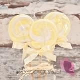 Kręcone lizaki na wesele Lizak okrągły żółty