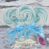 Kręcone lizaki na wesele Lizak okrągły niebieski