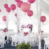 Papierowe lampiony kule na wesele Lampion dekoracyjny, kula ciemnoróżowa 35cm
