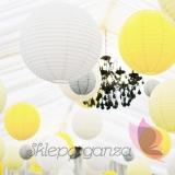 Papierowe lampiony kule na wesele Lampion dekoracyjny, kula żółty pastelowy 35cm