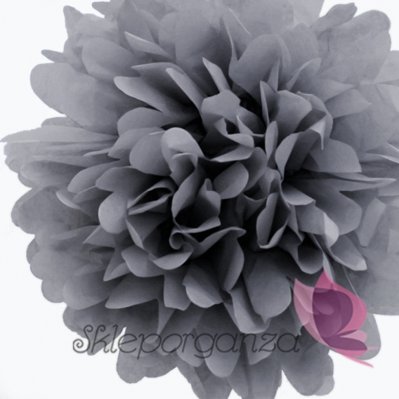 Papierowy kwiat, pompon, beżowy, 35cm