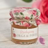 Miodziki weselne personalizowane Podziękowanie dla gości - miód - personalizacja kolekcja VINTAGE ROSE