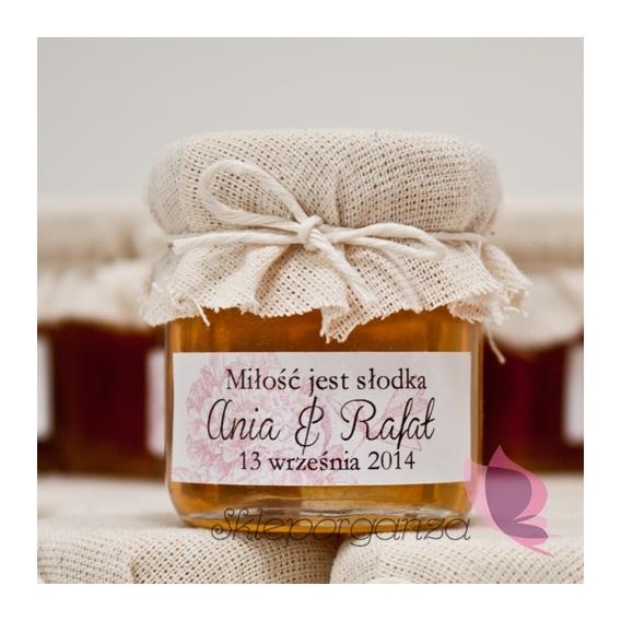 Miodziki weselne personalizowane Podziękowanie dla gości - miód - personalizacja PIWONIA