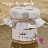Miodziki urodzinowe personalizowane Podziękowanie dla gości -miód - personalizacja KROPKI BABY