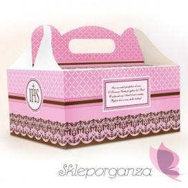 Pudełka komunijne na ciasto różowe, 10szt