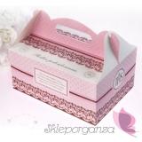 Pudełka na ciasto komunijne Pudełka komunijne na ciasto różowe, 10szt