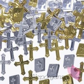 Konfetti metalizowane krzyże i księgi