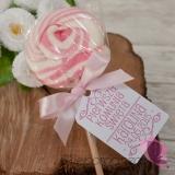 Upominki dla gości na Komunię personalizowane Lizak okrągły różowy - personalizacja - Komunia