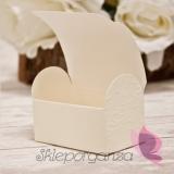 Pudełka weselne Pudełko kuferek kremowy KORONKA