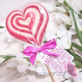 Lizak duży serce ciemnoróżowe- personalizacja - kolekcja LOVE