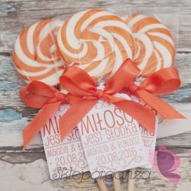 Lizak okrągły pomarańczowy - personalizacja - kolekcja LOVE