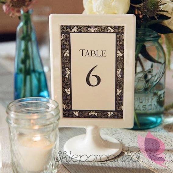Ramki i stojaki na stół weselny Biała ramka dekoracyjna
