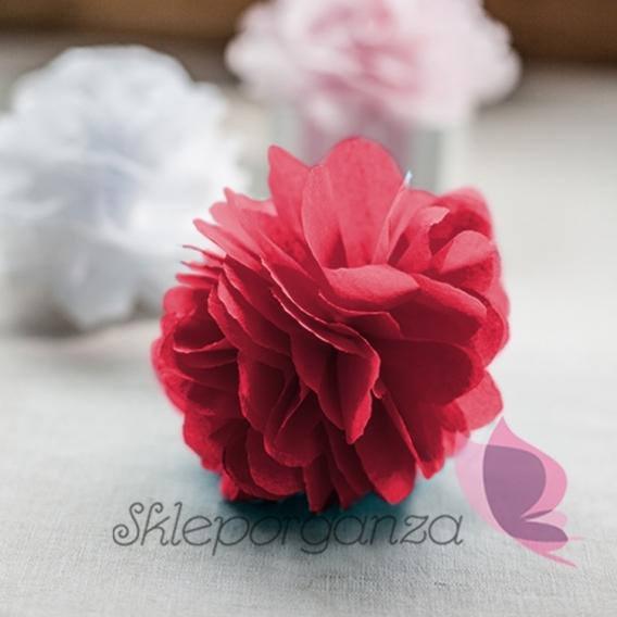 Papierowe kule kwiatowe pompony Papierowy kwiat, bordowy, 15cm