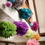 Papierowe kule kwiatowe pompony Papierowy kwiat, liliowy, 15cm