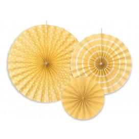 Rozety dekoracyjne jasnożółte, 3szt.