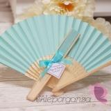 Wachlarze weselne personalizowane Wachlarz papierowy jasnoniebieski - personalizacja