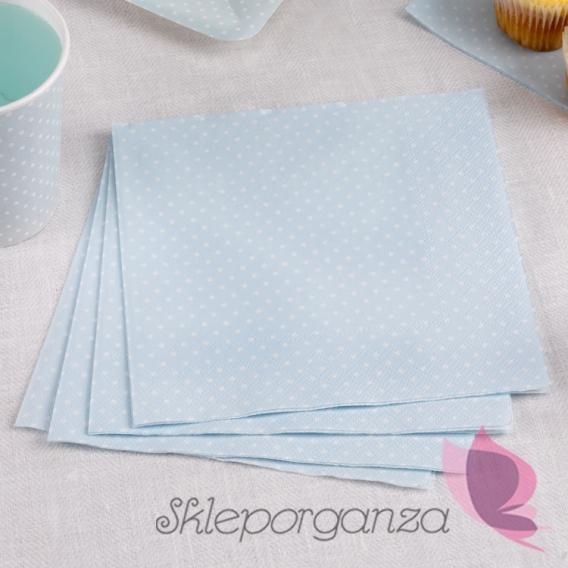Kolekcja Kropeczki Serwetki niebieskie 33x33 KROPECZKI
