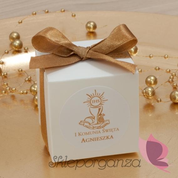 Kolekcja Złota Pudełko kostka biała, wstążka - personalizacja ZŁOTA
