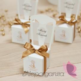 Winietki i wizytówki Pudełko krzesełko białe wstążka - personalizacja ZŁOTA