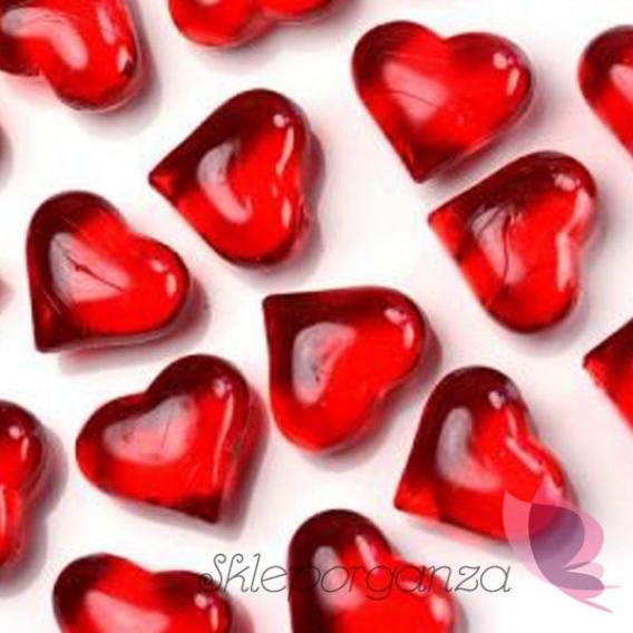 Kryształki weselne Kryształowe serca czerwone 30 sztuk