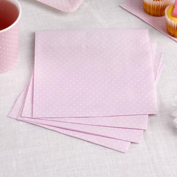 Kolekcja Kropeczki na Baby Shower Serwetki różowe 33x33 KROPECZKI