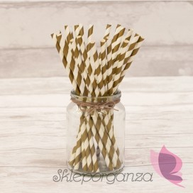 Papierowe słomki złote paski 25szt