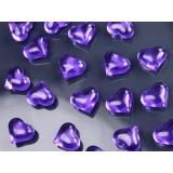 Kryształki Kryształowe serca fioletowe 30 sztuk