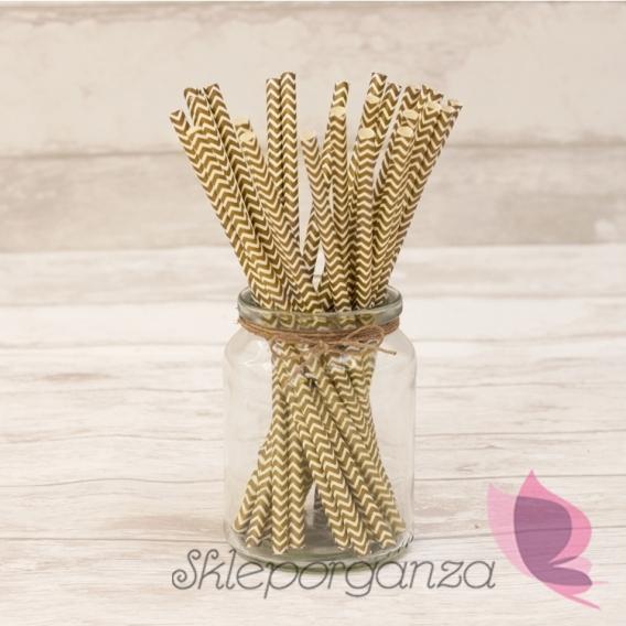 Słomki weselne Papierowe słomki złote CHEVRON 25szt