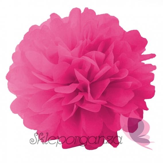 Papierowe kule kwiatowe pompony Papierowy kwiat, ciemnoróżowy, 25cm