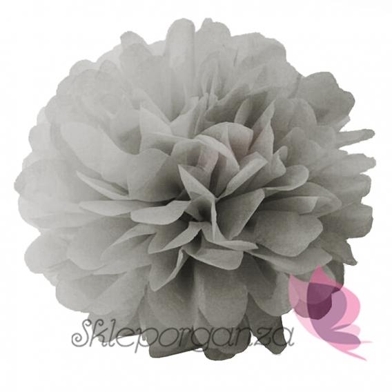 Papierowe kule kwiatowe pompony Papierowy kwiat, szary, 25cm