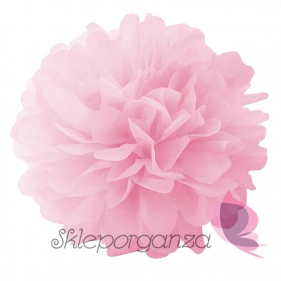 Papierowe kule kwiatowe pompony Papierowy kwiat, różowy, 25cm