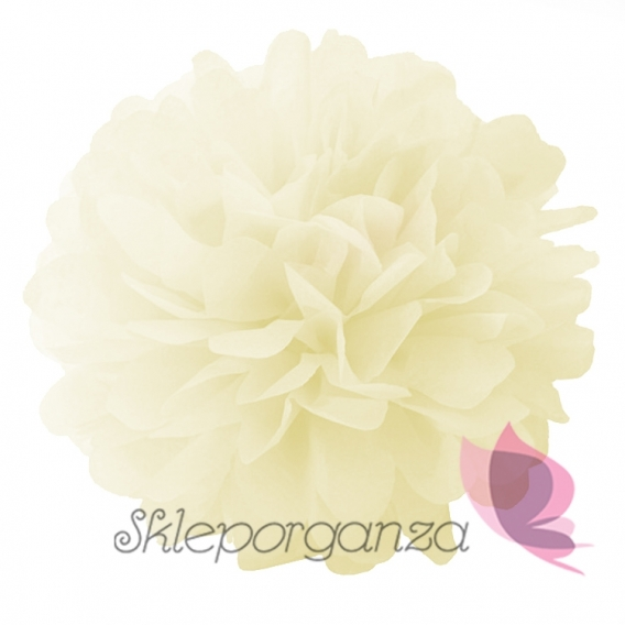 Papierowe kule kwiatowe pompony Papierowy kwiat, kremowy, 25cm