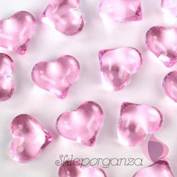 Kryształki Kryształowe serca jasnoróżowe 30 sztuk