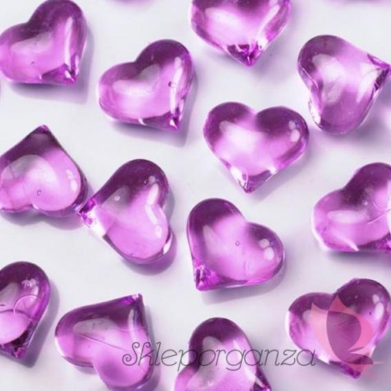 Kryształki Kryształowe serca ciemnoróżowe 30 sztuk