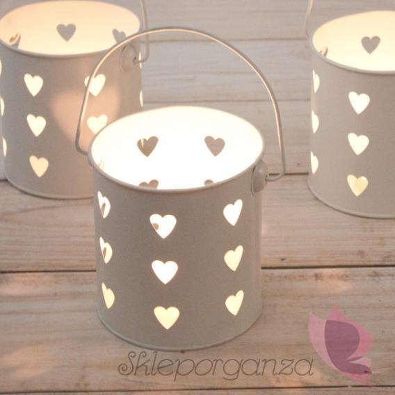 Szkło, świeczniki, świece Latarenka kremowa serce
