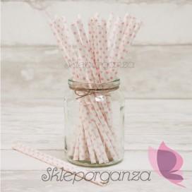 Papierowe słomki białe w j. różowe KROPECZKI 25szt