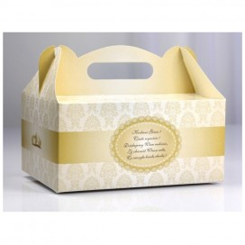 Pudełko na ciasto weselne - Kremowe