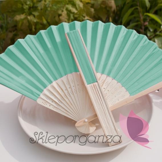 Wachlarze weselne Wachlarz materiałowy turkusowy