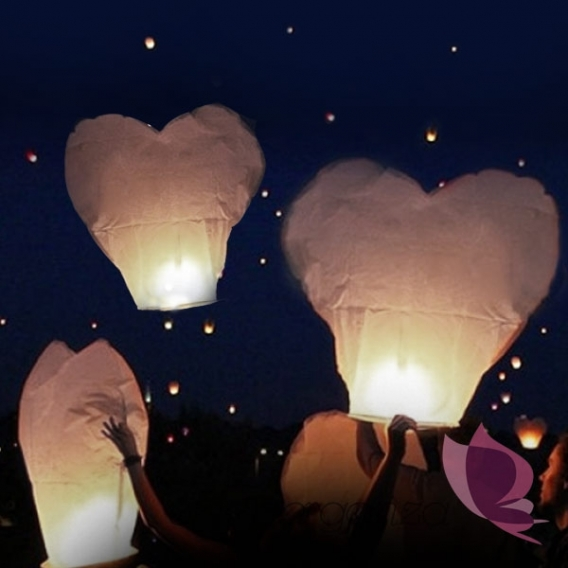 Latające lampiony Latające lampiony życzeń - białe serca HURT- 100szt