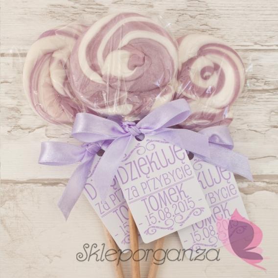 Upominki dla gości na Urodziny personalizowane Lizak okrągły liliowy - personalizacja