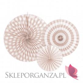 Rozety dekoracyjne jasnobrzoskwiniowe, 3szt.