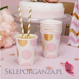 Kolekcja Baby Shower Różowe Groszki i Chevron na Baby Shower Kubeczki różowo-złote GROSZKI 8szt.