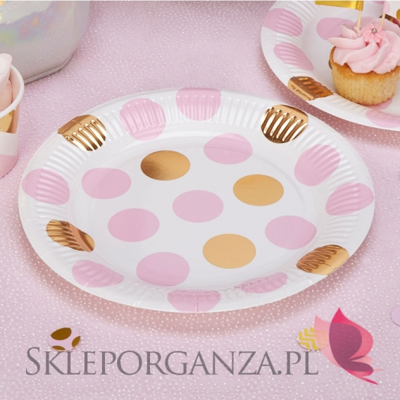 Kolekcja Baby Shower Różowe Groszki i Chevron na Baby Shower Talerzyki różowo-złote GROSZKI, 8szt.