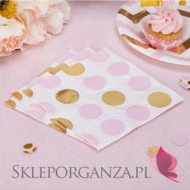 Kolekcja Baby Shower Różowe Groszki/ Chevron Serwetki różowo-złote GROSZKI, 16szt.