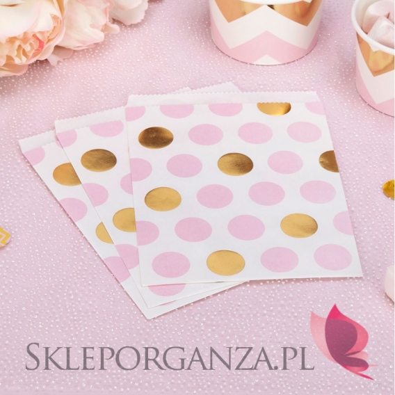 Kolekcja Baby Shower Różowe Groszki i Chevron na Baby Shower Torebka różowo-złota GROSZKI