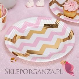 Kolekcja Baby Shower Różowe Groszki/ Chevron Talerzyki różowo-złote CHEVRON, 8szt.
