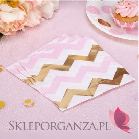 Kolekcja Baby Shower Różowe Groszki/ Chevron Serwetki różowo-złote CHEVRON, 16szt.